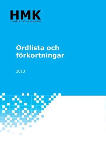 HMK-Ordlista och förkortningar - Lantmäteriet