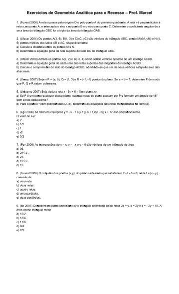 Exercícios de Geometria Analítica para o Recesso – Prof. Marcel