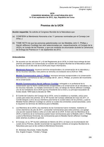 Premios de la UICN - IUCN Portals