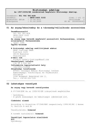 Biztonsági adatlap