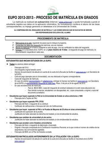 EUPO 2012-2013 - PROCESO DE MATRÍCULA EN GRADOS
