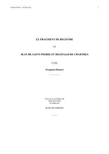 le fragment de registre jean de saint-pierre et ... - Jean Duvernoy