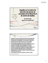 Rapport - Agence de la santé et des services sociaux de la Mauricie