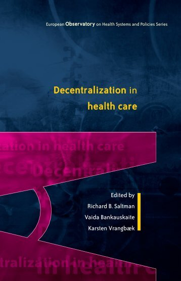 Decentralization in health care - World Health Organization ...