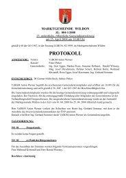 Protokoll der 25. Gemeinderatssitzung - Wildon