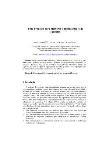 Uma Proposta para Melhorar o Rastreamento de Requisitos - WER