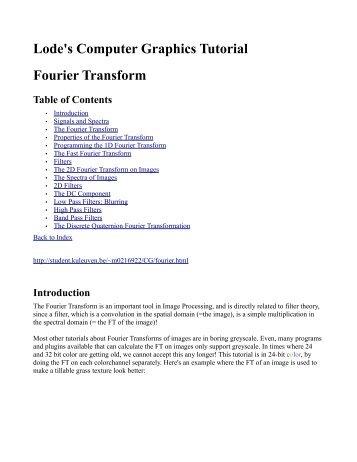 Lode's Computer Graphics Tutorial Fourier Transform
