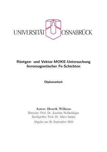 Röntgen- und Vektor-MOKE-Untersuchung ... - AG Wollschläger