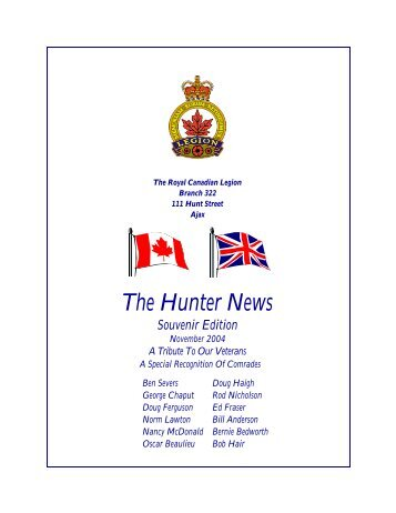 The Hunter News - The Royal Canadian Legion - Branch 322 - Ajax