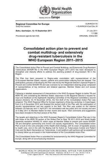 Consolidated action plan to prevent and combat multidrug- and ...