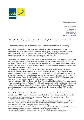 Offener Brief der Jungen Liberalen Karlsruhe an die Mitglieder und ...