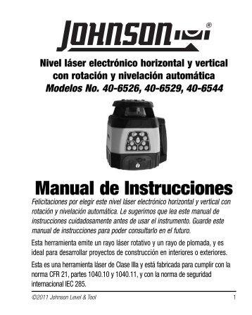 Manual de Instrucciones - Johnson Level