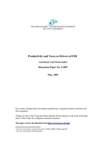 Productivity and Taxes as Drivers of FDI