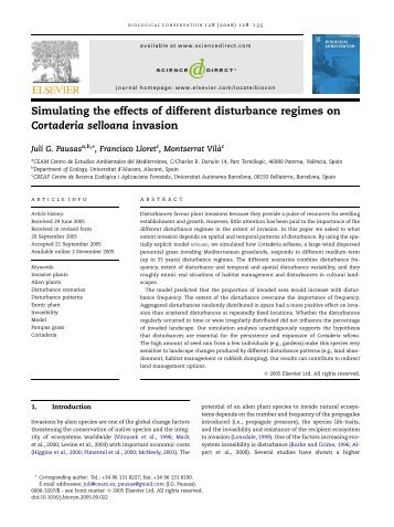 Simulating the effects of different disturbance regimes on Cortaderia ...