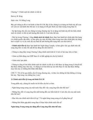 Chương 7: Chính sách tài chính và tiền tệ Harvey B. King Dịch viên ...