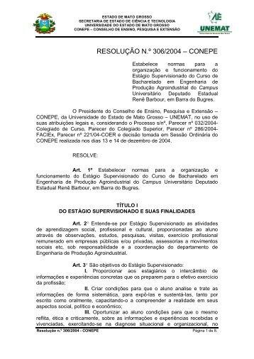 Resolução 306-2004 - Conepe - Reg. Estagio ... - UNEMAT