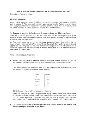 PISA : quelles hypothèses sur le système éducatif français - Prisme