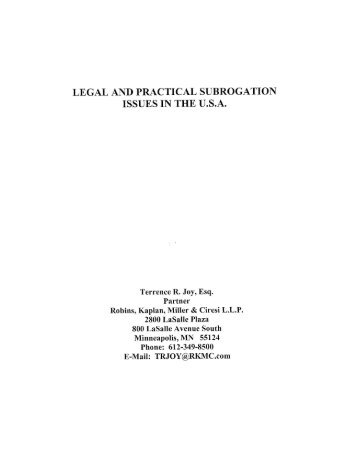 LEGAL AND PRACTICAL SUBROGATION ISSUES IN THE U.S.A.