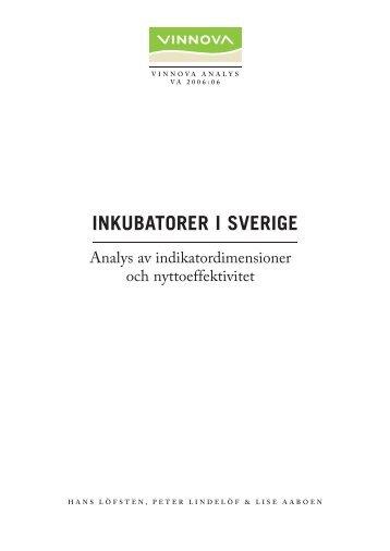 Inkubatorer i Sverige - Analys av indikatordimensioner ... - Vinnova