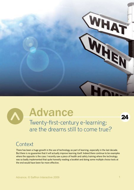 Twenty-first-century e-learning: are the dreams ... - Saffron Interactive