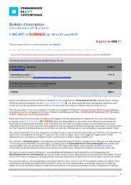 Bulletin d-inscription Florence - Connaissance de l'Art Contemporain