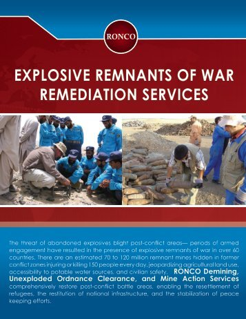 explosive remnants of war remediation services - RONCO ...