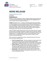 US Dairy Ingredient Innovations Address Global Consumer Demands