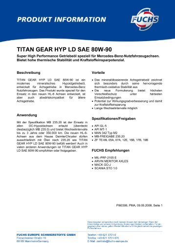 TITAN GEAR HYP LD SAE 80W-90 - Korb Schmierstoffe