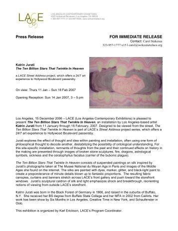 Press Release FOR IMMEDIATE RELEASE - LACE