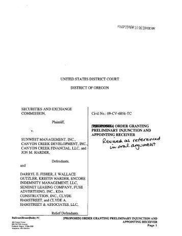 Order Granting Preliminary Injunction and Appointing Receiver - The ...