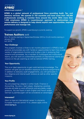 Trainee Auditors (m/f)