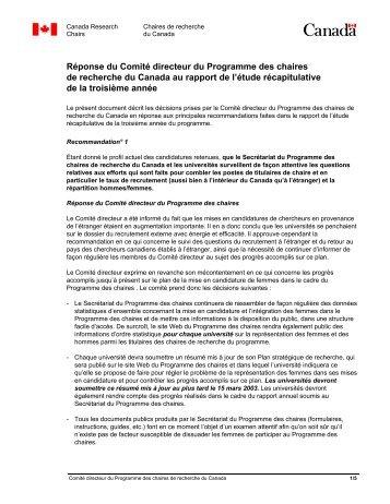 Réponse du Comité directeur du Programme des chaires de ...