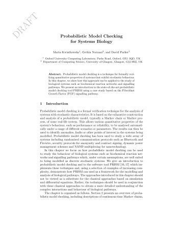 Probabilistic Model Checking for Systems Biology - PRISM
