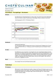 CHEFS CULINAR Marktbericht Grosshandel November 2013