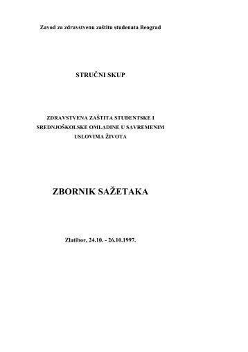 Zbornik radova 1997. - Zavod za zdravstvenu zaštitu studenata ...