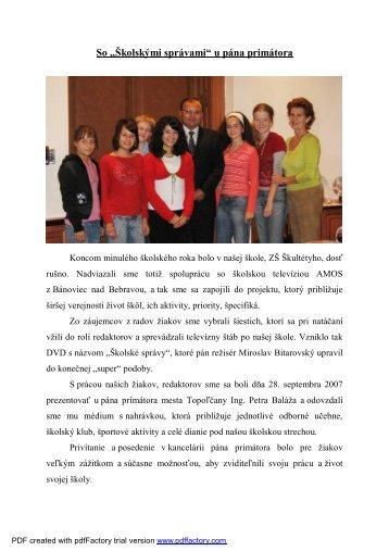 So Školskými správami u pána primátora - ZŠ Škultétyho, Topoľčany