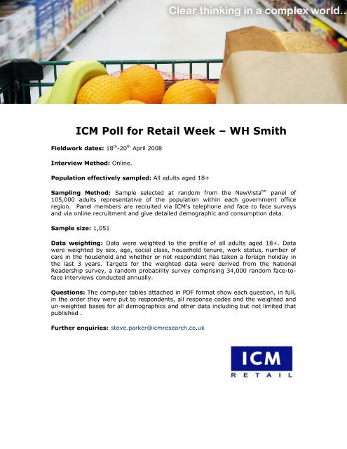 Retail Week – WH Smith survey - ICM Research