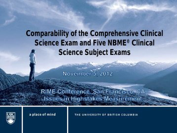 Comparability of the Comprehensive Clinical Science Exam and ...