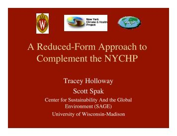 A Reduced-Form Approach to Complement the NYCHP - SAGE