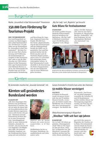 116 Burgenland Kärnten 150.000 Euro Förderung für Tourismus ...