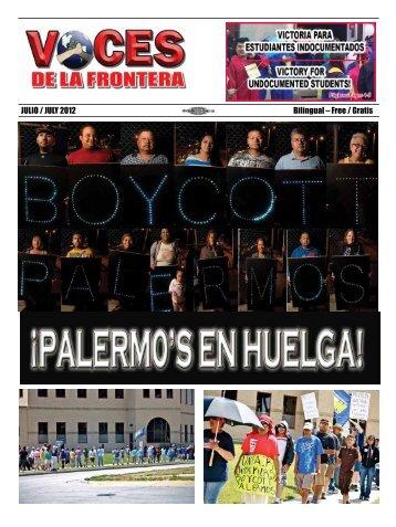 JULIO / JULY 2012 Bilingual – Free / Gratis - Voces De La Frontera