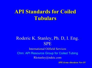 API Standards for Coiled Tubulars