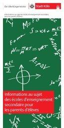 Informations au sujet des écoles d'enseignement secondaire pour ...