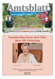 Franziska Rau feierte am 9. März ihren 109. Geburtstag - Durbach