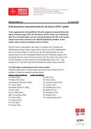 Textvorlage -Template Swiss Football League - FC Wohlen