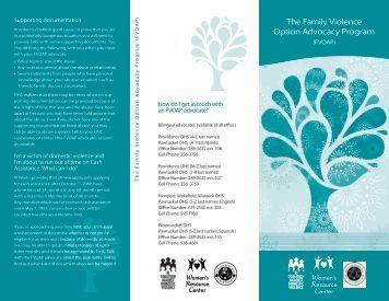 The Family Violence Option Advocacy Program - Rhode Island ...