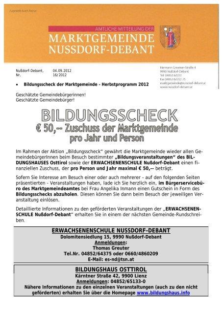 Obervellach kurse fr singles. Single brse aus absdorf