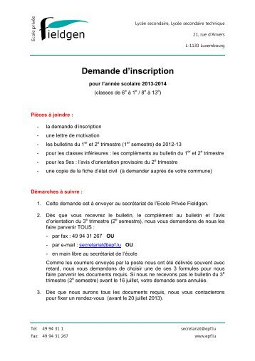 Demande d'inscription - Ecole Privée Fieldgen