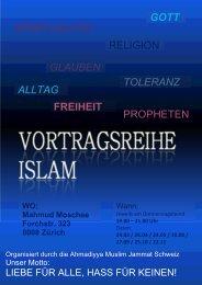 Flyer zur Veranstaltung. - Ahmadiyya Muslim Jamaat Schweiz