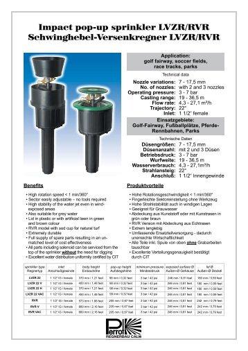 Impact pop-up sprinkler LVZR/RVR Schwinghebel ... - Famco